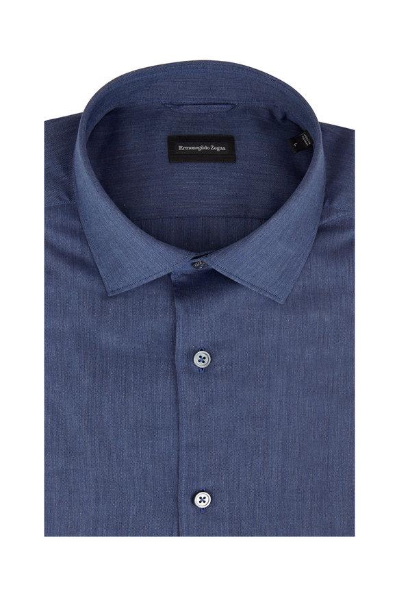 Ermenegildo Zegna Solid Slate Sport Shirt
