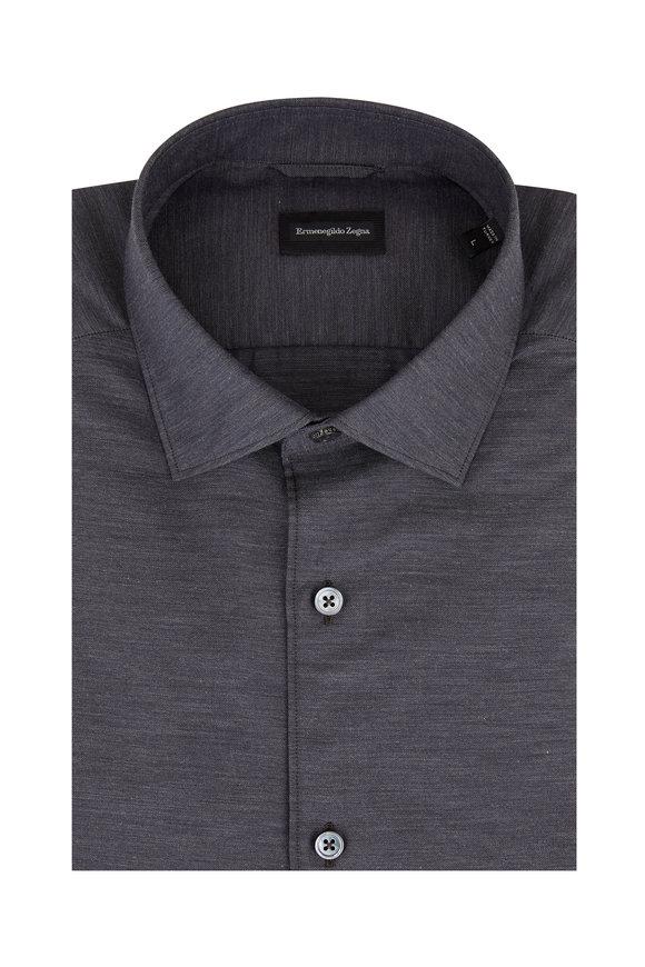 Ermenegildo Zegna Solid Charcoal Gray Sport Shirt