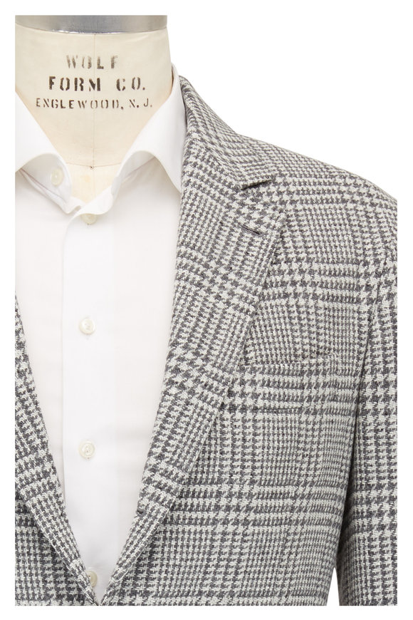 Brunello Cucinelli Light Gray Large Plaid Wool & Cashmere Sportcoat