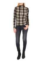 R13 - Black & White Plaid Fitted Turtleneck