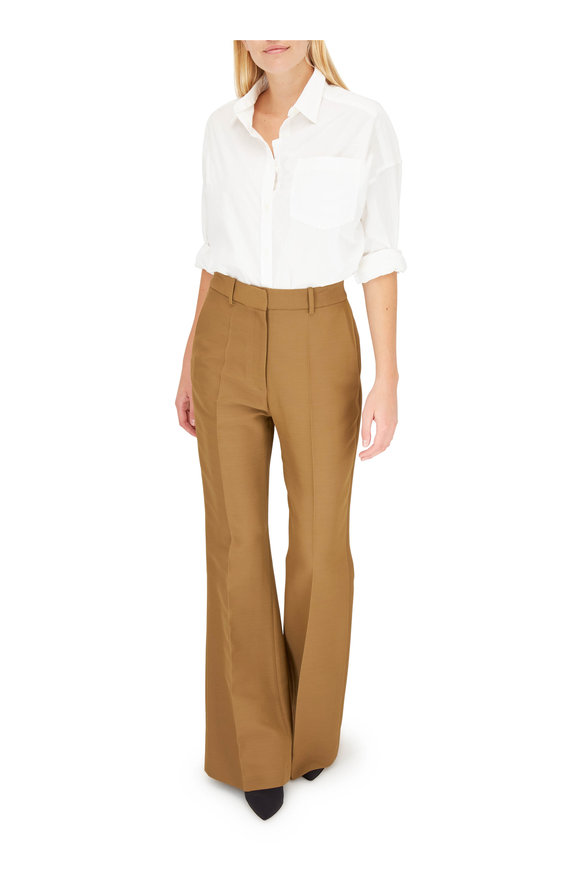 Partow Caramel Wide Leg Pleated Pant