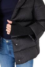 Herno - Black Ostrich Embossed Nylon Puffer Jacket
