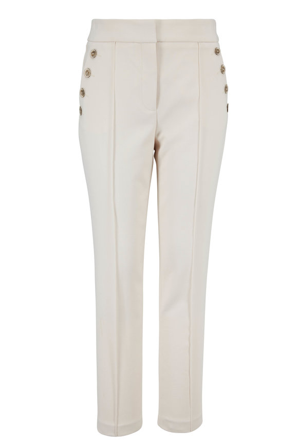 Veronica Beard Friedman Ivory Button Pocket Cropped Pant