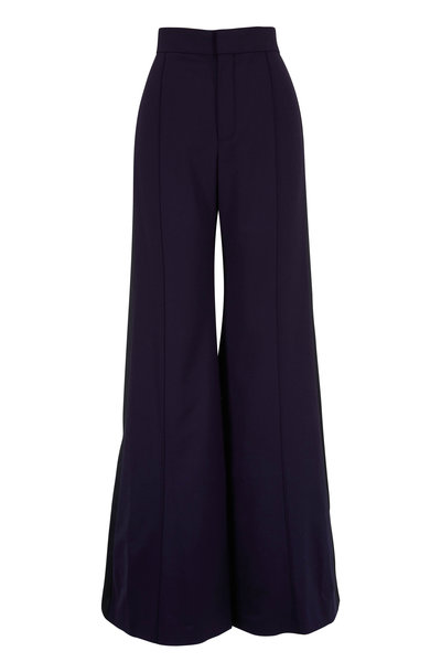Chloé - Navy Stretch Wool Side-Striped Wide Leg Pant