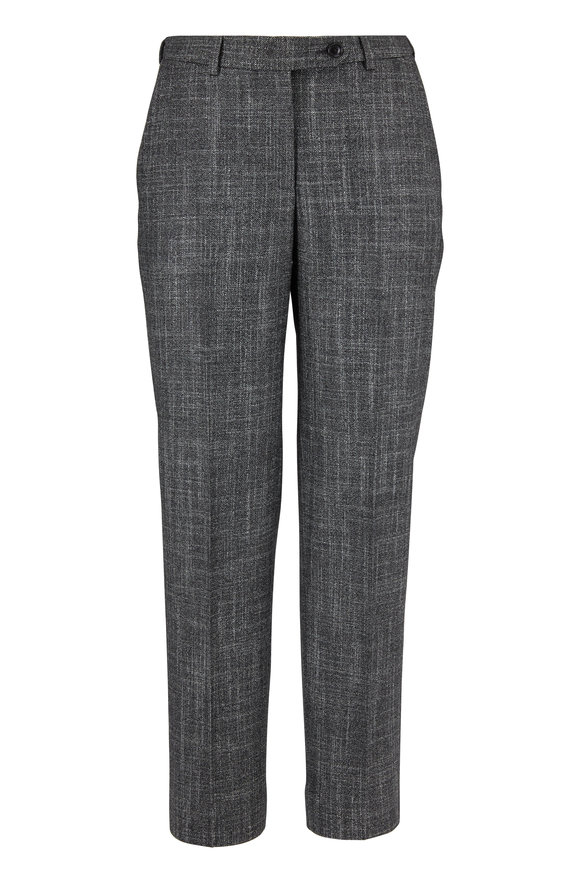 Gray Textured Wool, Cashmere & Silk Suit Pant