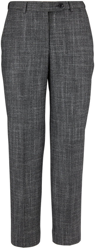 Kiton Gray Textured Wool, Cashmere & Silk Suit Pant