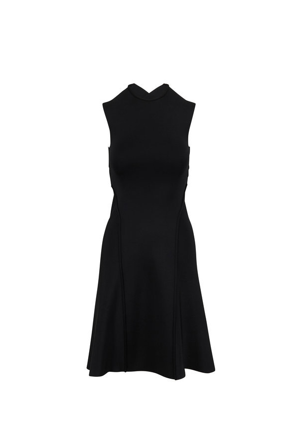 Victoria Beckham Black Compact Shine Long Cross Back Dress