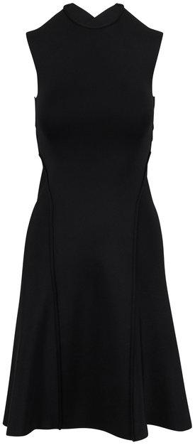 Victoria Beckham Black Compact Shine Long Cross Back Dress