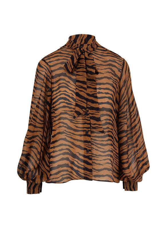 Nili Lotan Monica Small Bronze Tiger Print Tie-Neck Blouse