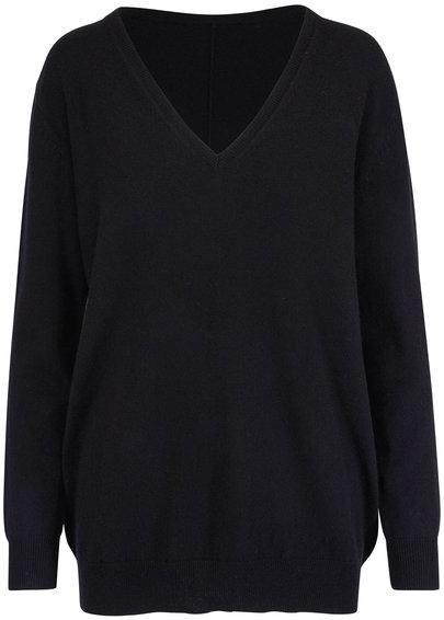 Nili Lotan Kendra Black Cashmere V-Neck Sweater