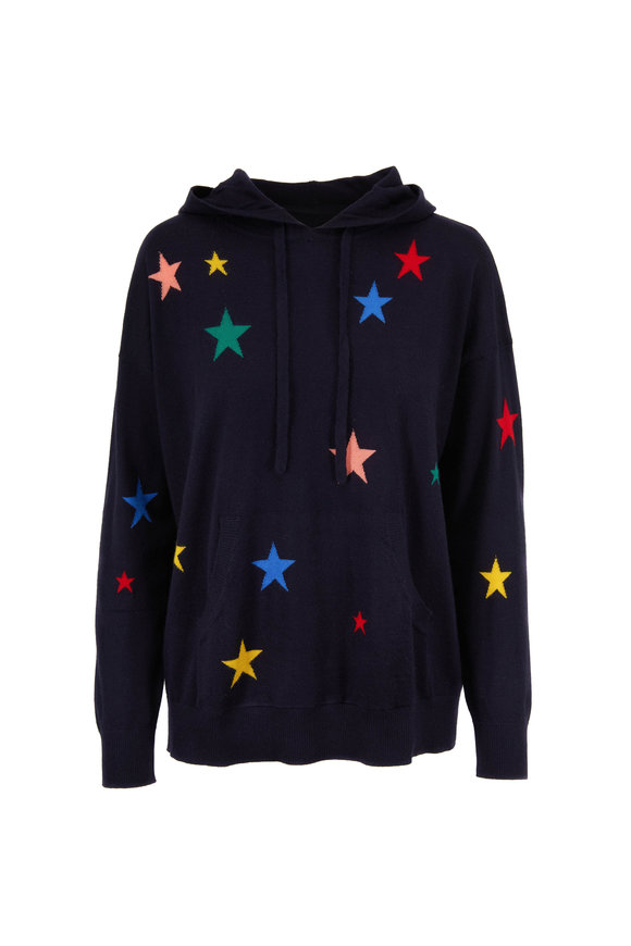 Chinti & Parker Navy Multicolor Star Cashmere Hoodie