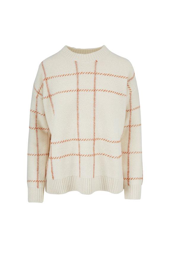 Chinti & Parker Cream & Ginger Wool Windowpane Crewneck Sweater