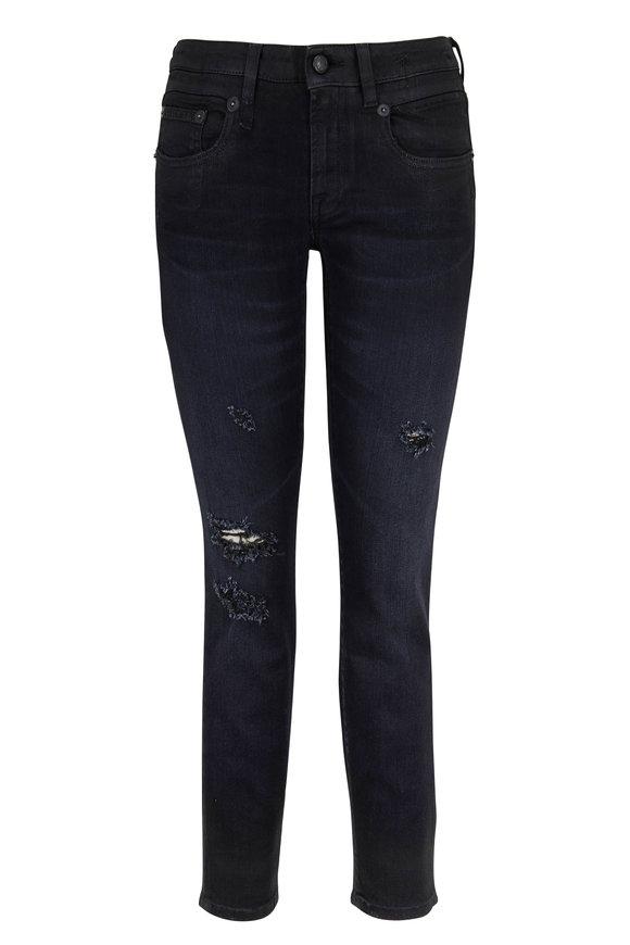 R13 Boy Coated Black Distressed Skinny Jean