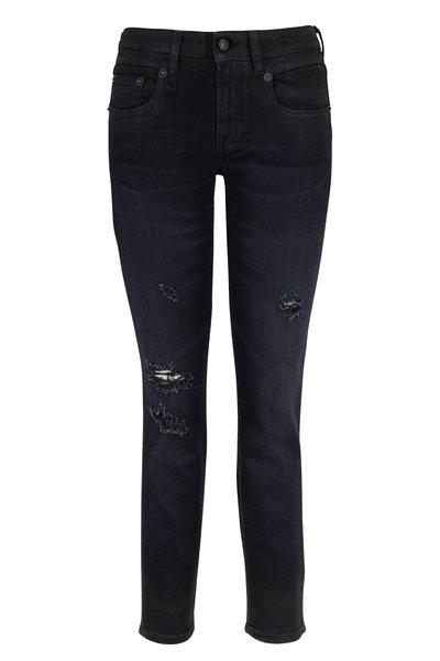 R13 - Boy Coated Black Distressed Skinny Jean