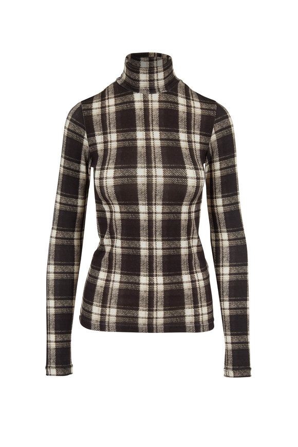 Black & White Plaid Fitted Turtleneck