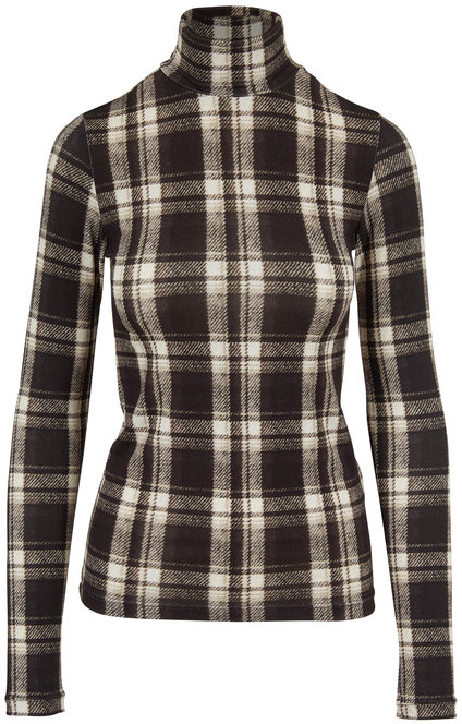 R13 Black & White Plaid Fitted Turtleneck