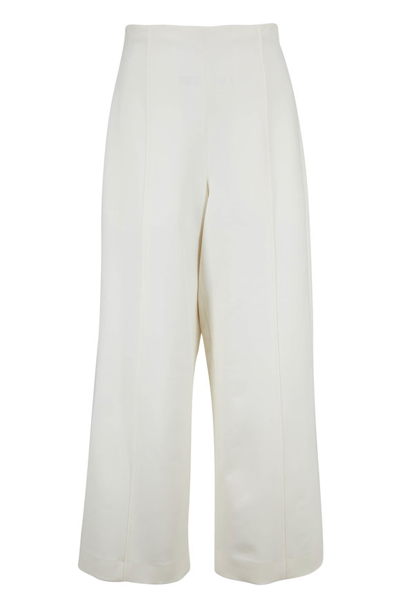 Oscar de la Renta Ivory Stretch Wool High-Rise Cropped Pant