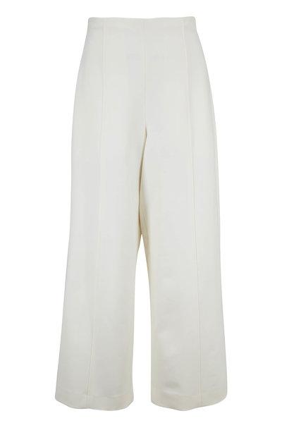 Oscar de la Renta - Ivory Stretch Wool High-Rise Cropped Pant