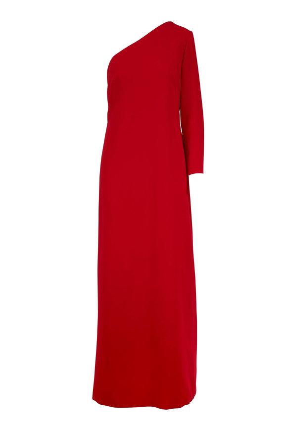Carolina Herrera Red Silk Crêpe One Shoulder Gown