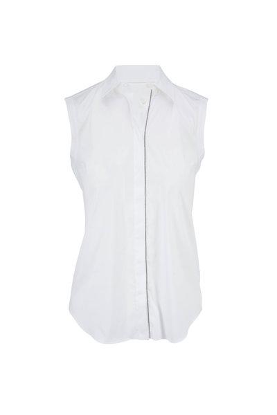Brunello Cucinelli - White Poplin Sleeveless Button Down Blouse