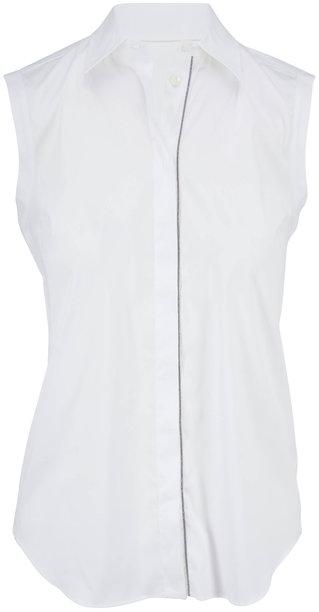 Brunello Cucinelli White Poplin Sleeveless Button Down Blouse