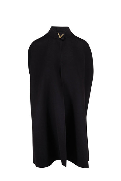 Valentino - Black VLogo Wool & Angora Cape