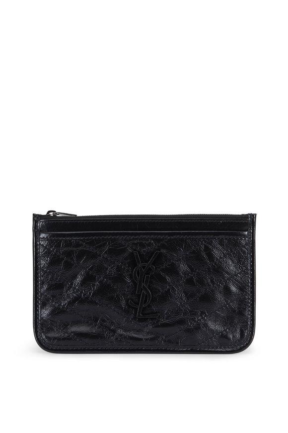 Saint Laurent Niki Black Textured Leather Zip Pouch