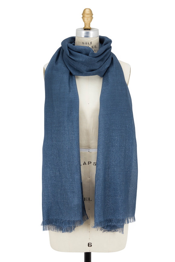 Brunello Cucinelli Exclusively Ours! Lagoon Cashmere Lurex Scarf