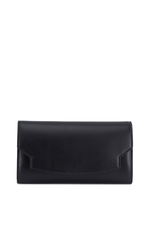 The Row Lady Black Leather Soft Box Wallet