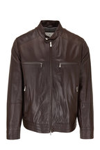 Brunello Cucinelli - Brown Leather Stand Collar Jacket