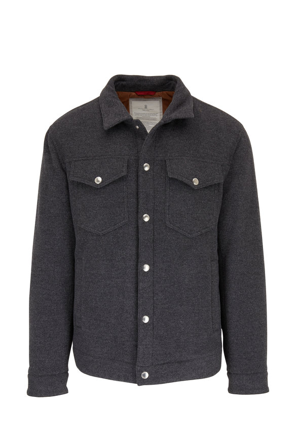 Brunello Cucinelli Charcoal Gray Wool Two Pocket Jacket