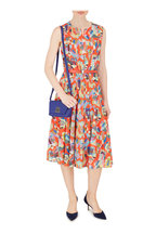 Akris - Multicolor Geometric Print Zip-Front Belted Dress