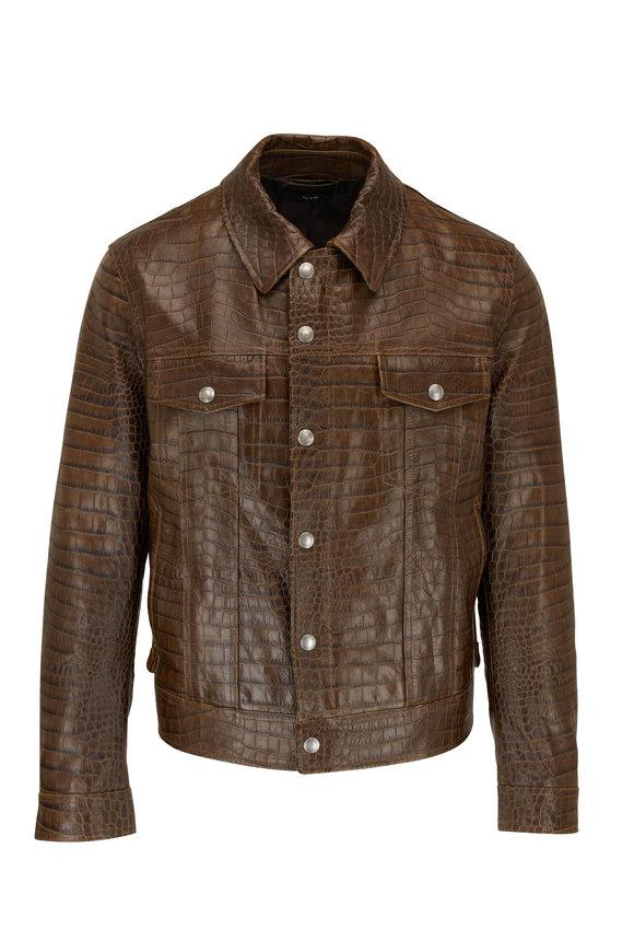 Tom Ford Dark Brown Croc Stamped Leather Jacket