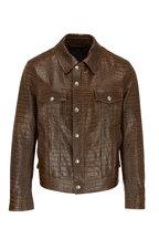 Tom Ford - Dark Brown Croc Stamped Leather Jacket