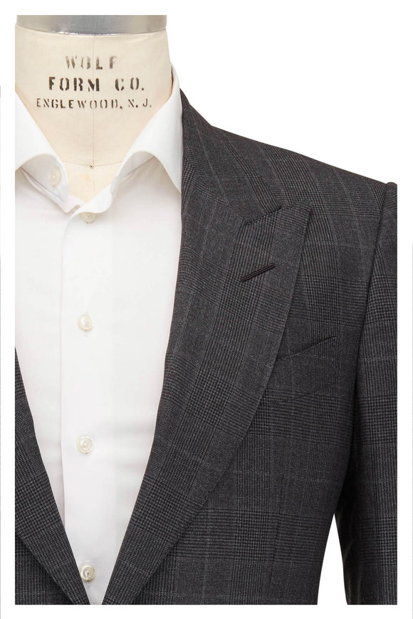 Tom Ford Charcoal Prince Of Wales Plaid Wool Suit