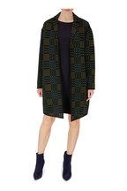 Akris - Pine & Navy Plaid Wool & Silk Textured Knit Coat