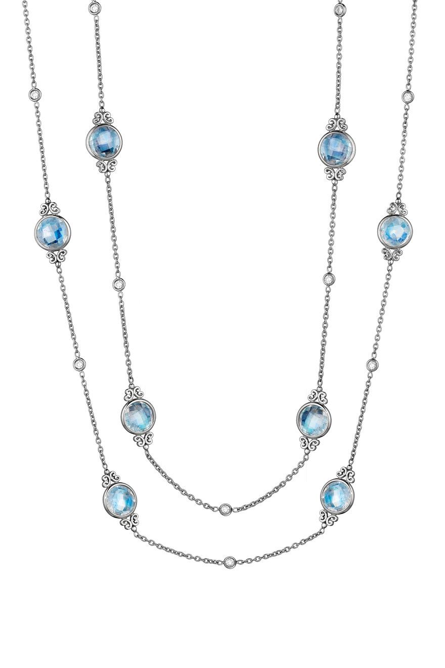 White Gold Moonstone Diamond Eyeglass Chain