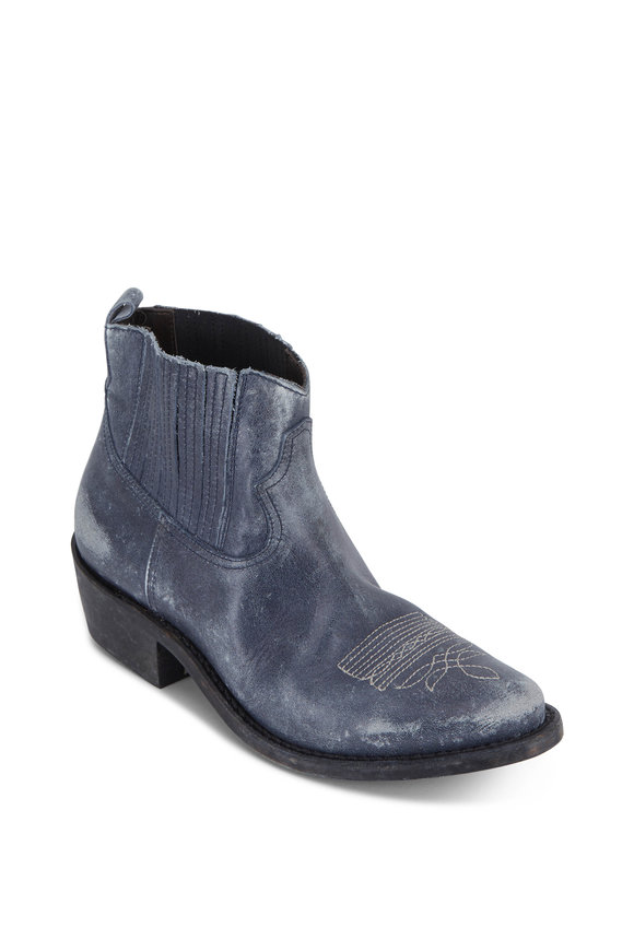 Golden Goose Crosby Night Blue Leather Western Boot, 50mm