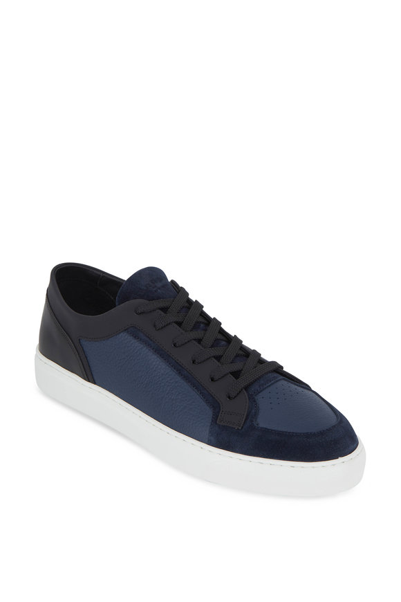 Harrys of London Vim Navy & Black Milled Leather & Suede Sneaker