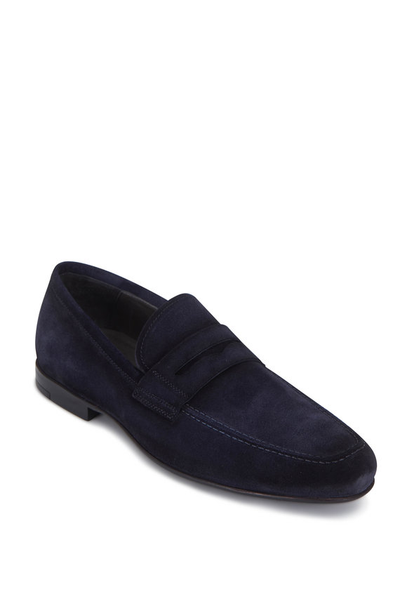 To Boot New York Corbin Dark Blue Suede Penny Loafer