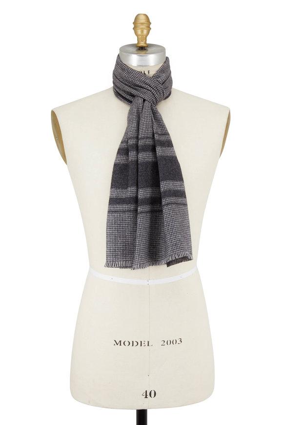 Brioni Charcoal Gray Striped Silk & Cashmere Scarf