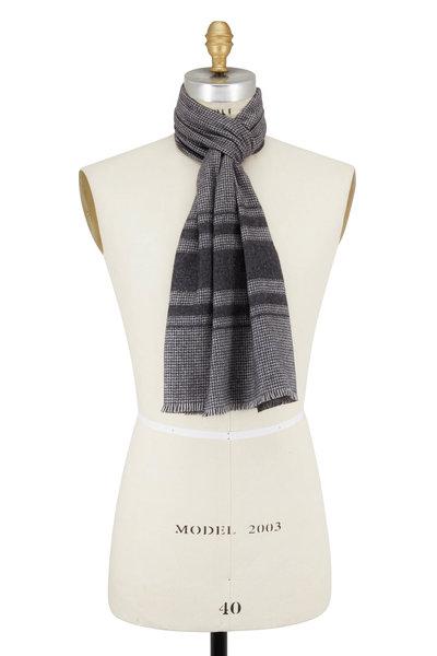 Brioni - Charcoal Gray Striped Silk & Cashmere Scarf