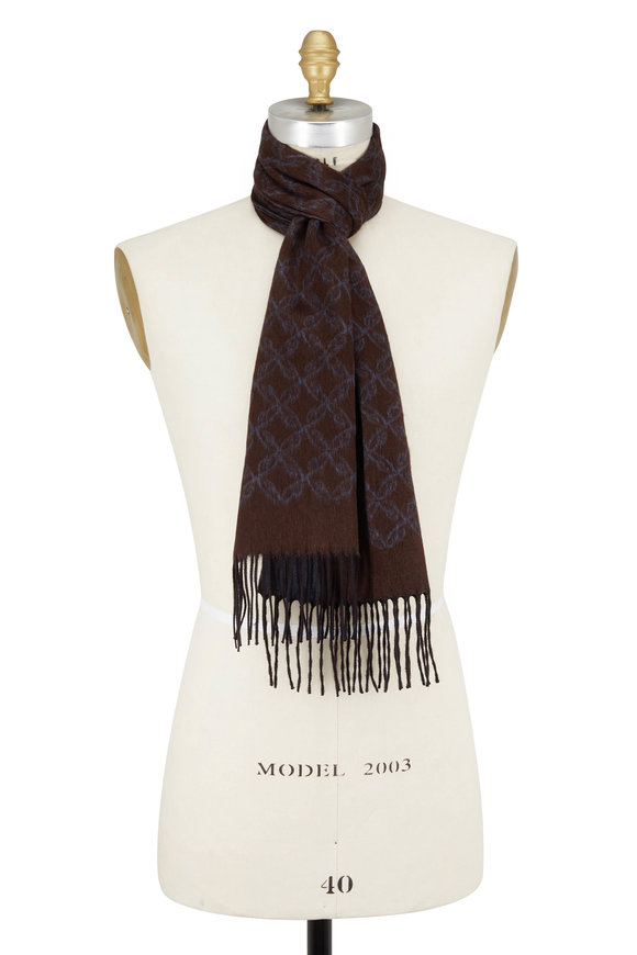 Brioni Brown & Teal Silk & Cashmere Fringed Scarf
