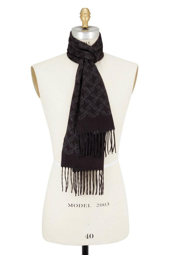 Brioni Black Geo Silk & Cashmere Fringed Scarf