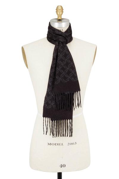 Brioni - Black Geo Silk & Cashmere Fringed Scarf