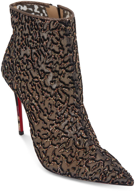 Christian Louboutin Nancy Multi Roche Tulle Rocaille Ankle Boot, 100mm