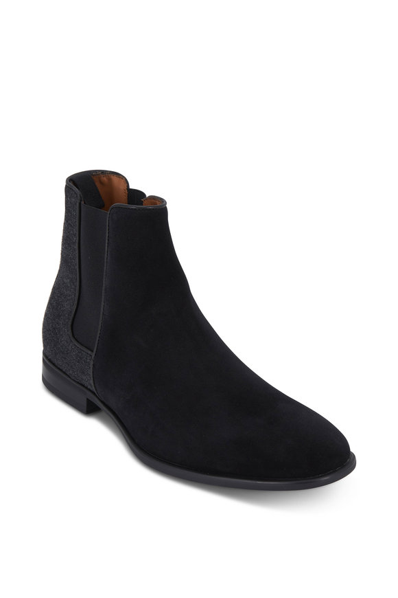 Aquatalia Adrian Black Suede & Flannel Weatherproof Boot
