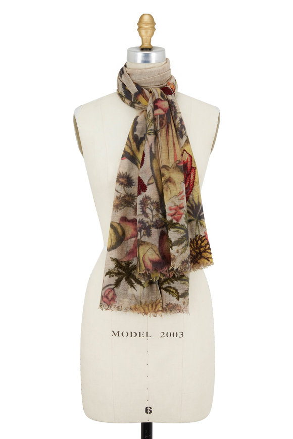 Faliero Sarti Pink & Beige Can Can Floral Printed Scarf