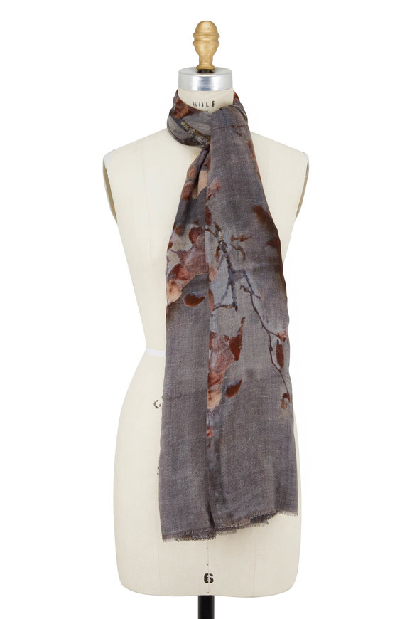 Faliero Sarti Hiver Charcoal & Natural Single Branch Print Scarf