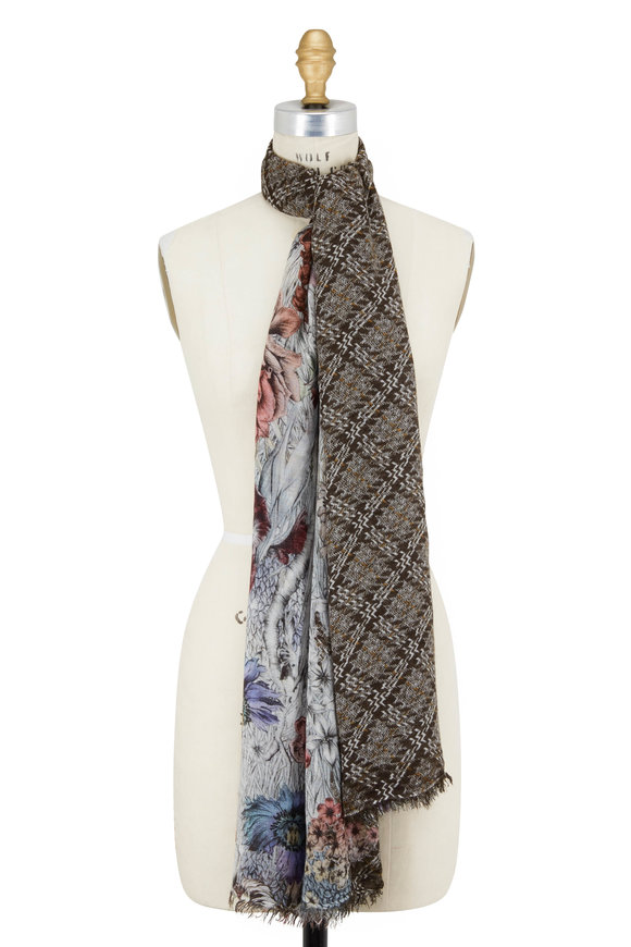 Faliero Sarti Fabiola Plaid Center & Floral Edges Scarf